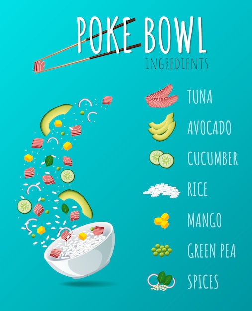Hawaiian poke tuna bowl with greens and vegetables. Premium Vector
