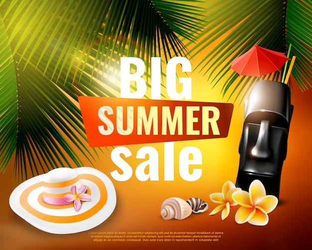 Hawaiian summer sale poster Free Vector
