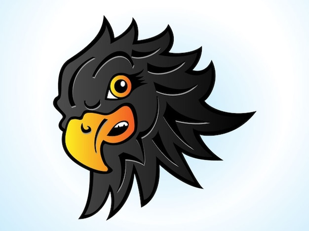 Hawk head wings cartoon vector