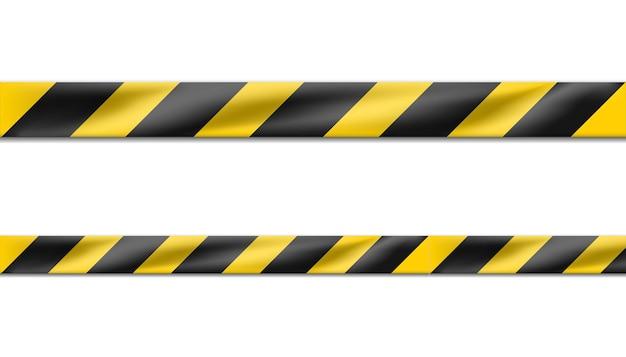 ハザードの黒と黄色の縞模様のリボン、犯罪現場または建設エリアの警告サインの注意テープ。 無料ベクター