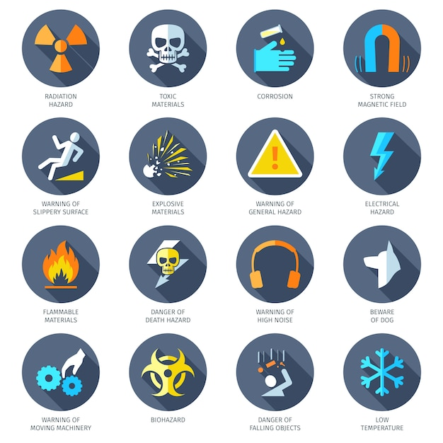 Hazard icons flat Premium Vector