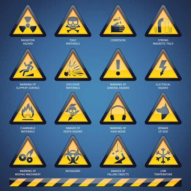 Hazard signs set Free Vector