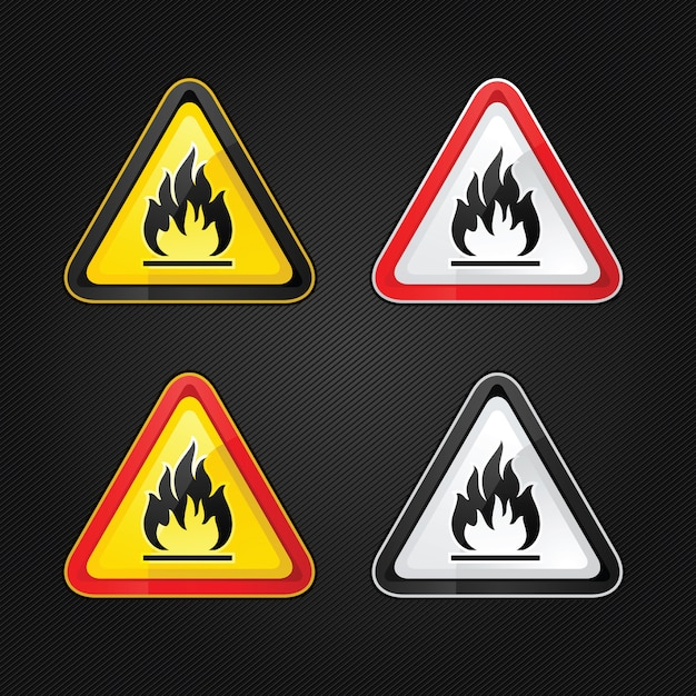 Hazard warning triangle highly flammable warning set sign Premium Vector