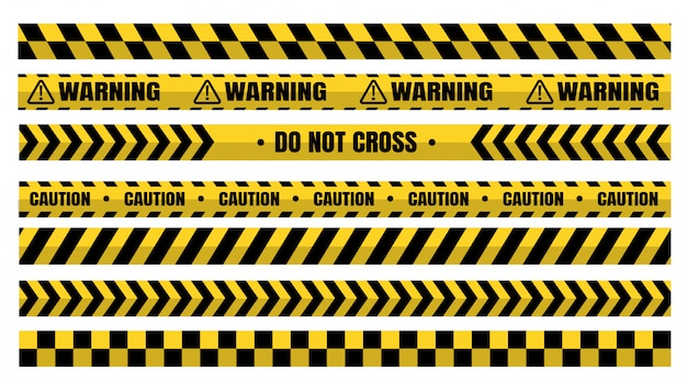 Hazardous warning tape sets must be careful for construction and crime. Premium Vector