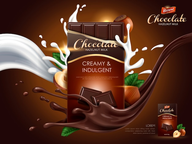牛乳とココアの流れの要素、茶色の背景、イラストとヘーゼルナッツチョコレートの広告 Premiumベクター