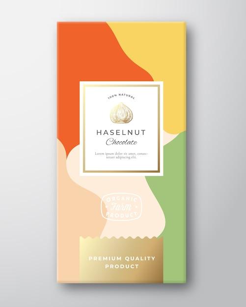 헤이즐넛 초콜릿 라벨. 무료 벡터