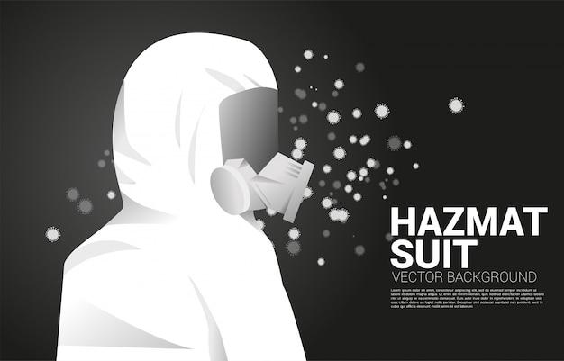 Белый костюм hazmat с полной маской и фоном частиц вируса. концепция биохимической опасности и защиты от вирусов Premium векторы