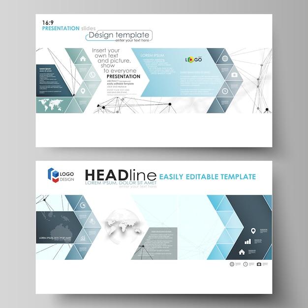 Бизнес-шаблоны в формате hd для слайдов презентации. абстрактные макеты в квартире. образец химии, соединительные линии и точки, структура молекулы на белом, геометрическая графика Premium векторы