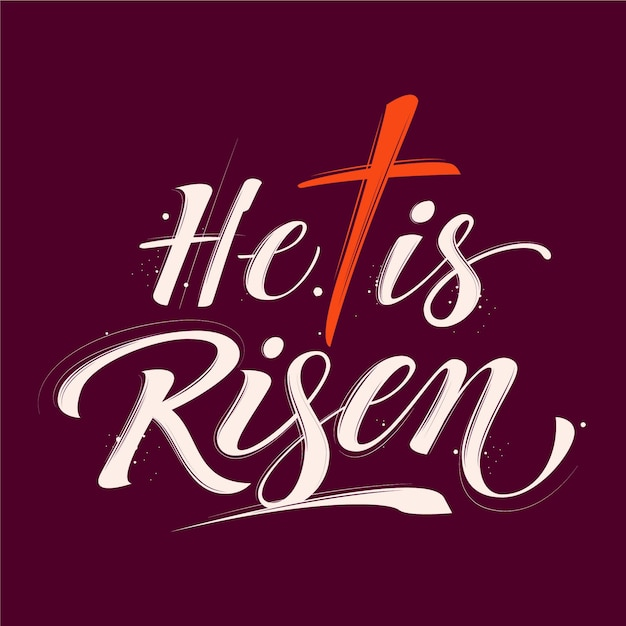 He is risen with crosslettering Free Vector