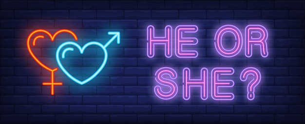 He or she neon text with heart shaped gender symbols Free Vector