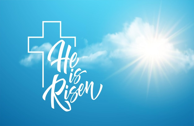 He was resurrected lettering against a background of clouds and sun. background for congratulations on the resurrection of christ. vector illustration eps10 Free Vector