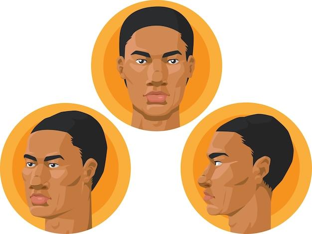 Голова - афроамериканец Premium векторы