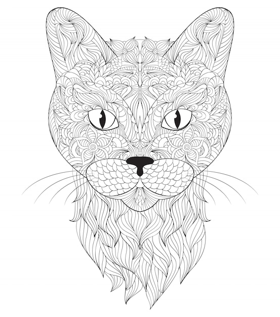 Head of cat on white background Premium Vector