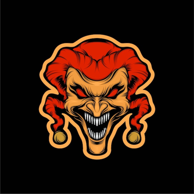 Head crazy clown mascot illustration Premium Vector