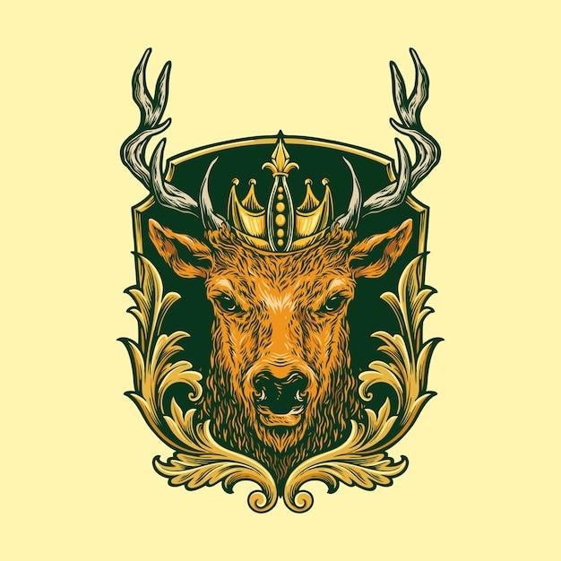 Head deer logo classic illustration Premium Vector