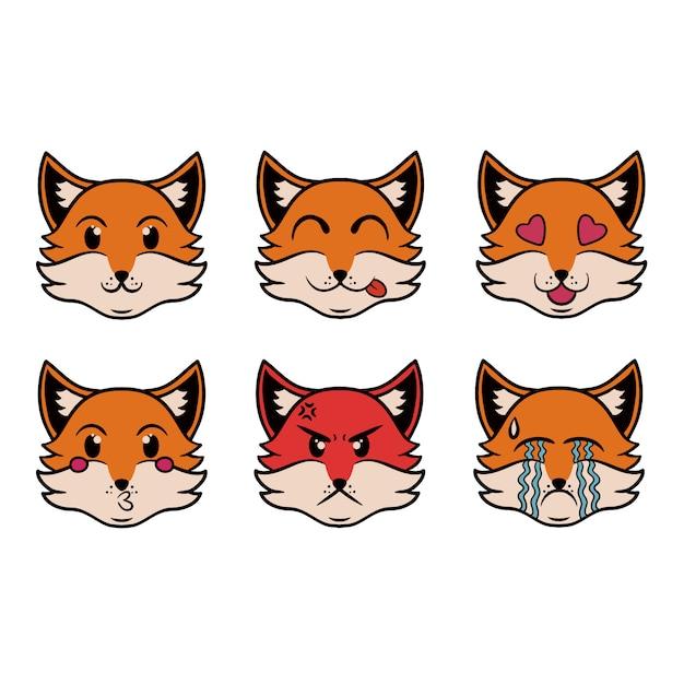 Head of the emoji fox in pop art style Premium Vector