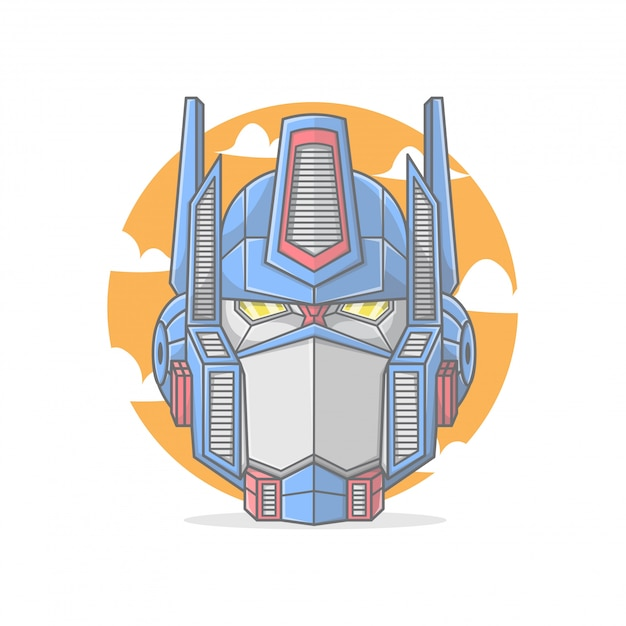 The head of a formidable robot leader Premium Vector