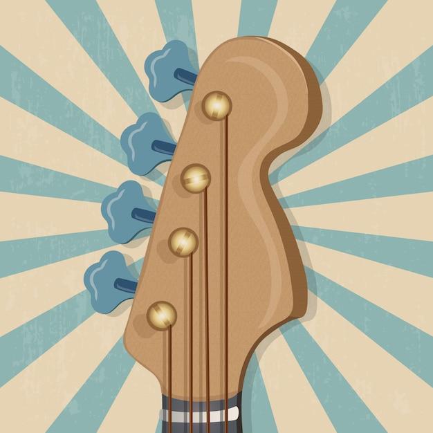 Head of the guitar music banner Premium Vector