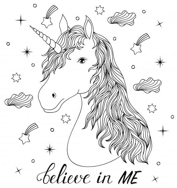Head of hand drawn unicorn. coloring page for children and ...