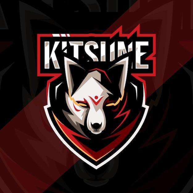 Голова кицунэ талисман с логотипом кибер дизайн шаблона Premium векторы
