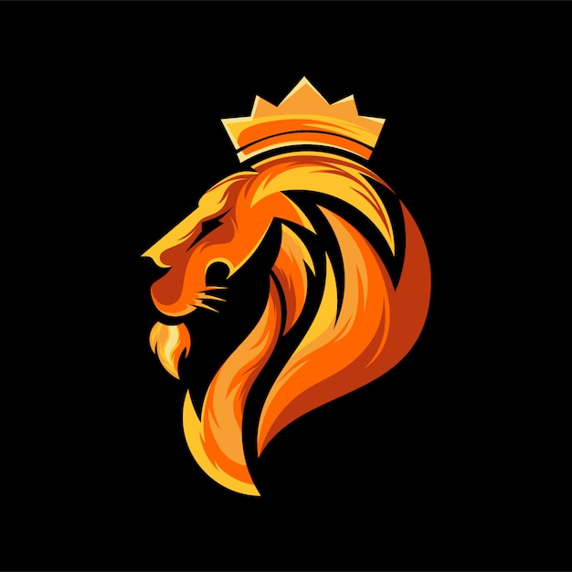 Head lion logo design Premium Vector