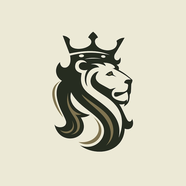 The head of a lion with a royal crown Premium Vector
