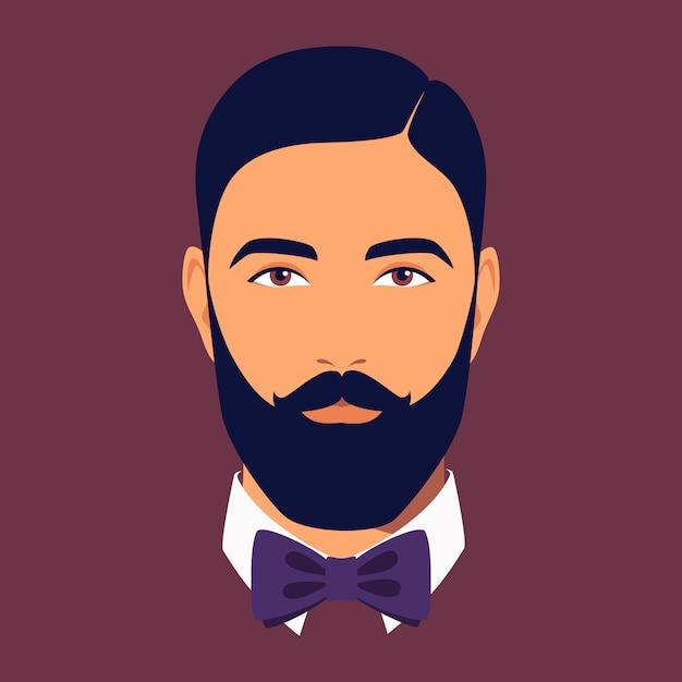 蝶ネクタイをしたひげを生やした男の頭。ひげを生やした黒髪の男の肖像画。ソーシャルネットワークのためのスタイリッシュなdendyのアバター。抽象的な男性の肖像画、フルフェイス。フラットスタイルのイラスト Premiumベクター
