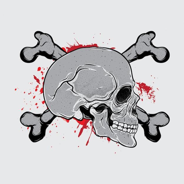 Head skull bloods Premium Vector