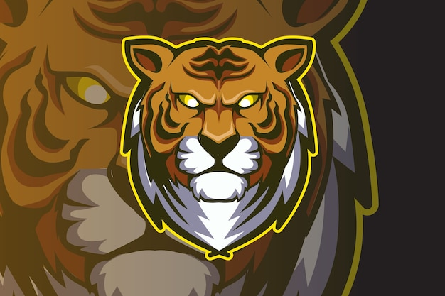 Head tiger mascot for sports and esports logo isolated on dark background Premium Vector