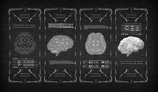 Head-up дисплей футуристический пользовательский интерфейс с мозгом. виртуальная графика. Premium векторы