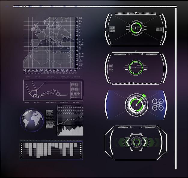 Набор футуристический синий инфографики как head-up дисплей. отображение элементов навигации для интернета и приложения. футуристический пользовательский интерфейс Premium векторы