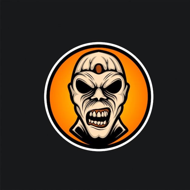 Head zombie logo ilustration Premium Vector