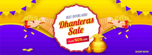 Header or banner design with woman hand holding golden coins and 50% discount offer for dhanteras sale. Premium Vector