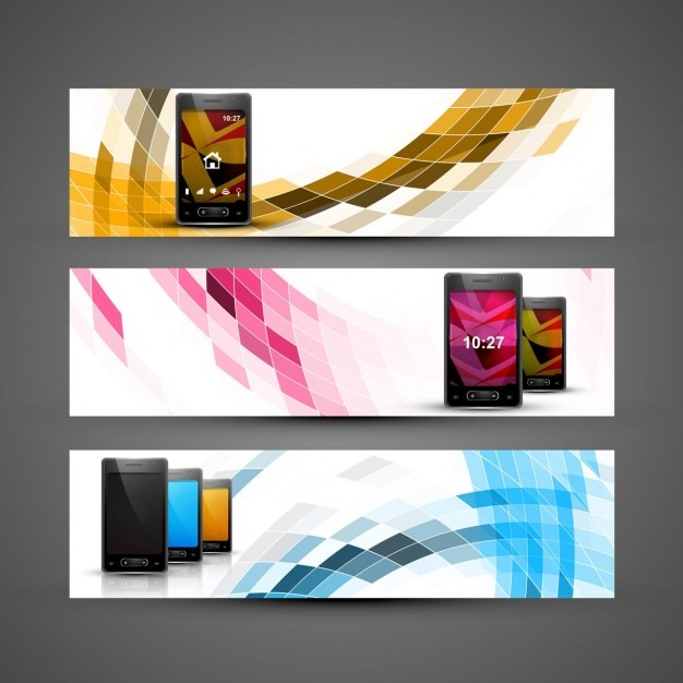 Headers collection with mobiles Free Vector