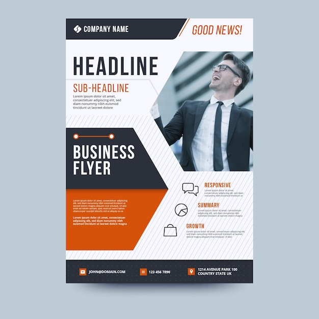 Headline and businessman business flyer template Free Vector