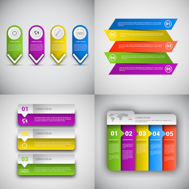 Headline infographic set design business data graphic collection presentation copy space Premium Vector