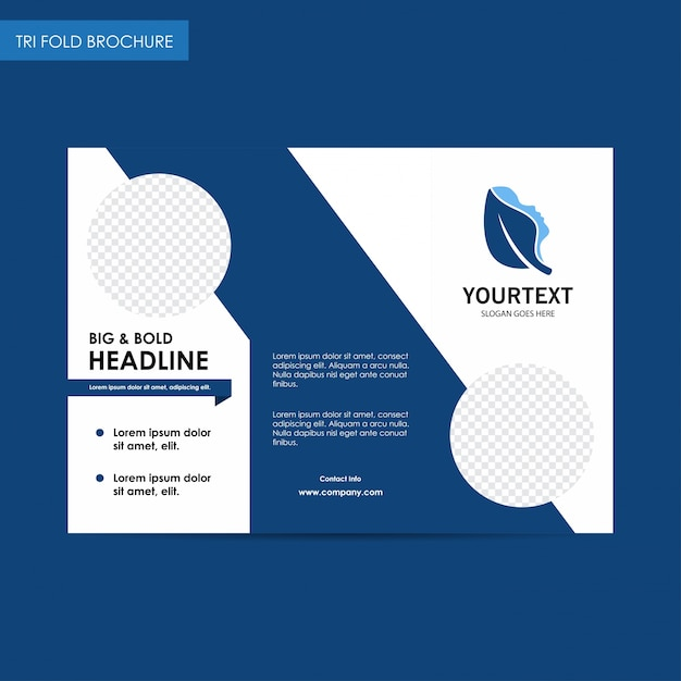 Headline Spa Logo Trifold Brochure, Blue Cover Design, Spa