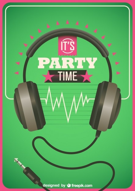 Headphone background Free Vector
