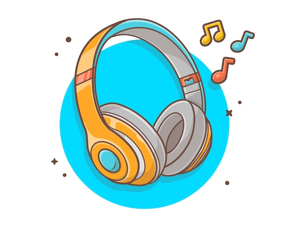 Headphone listening music with tune and note music vector icon illustration. technology and music icon concept white isolated Premium Vector