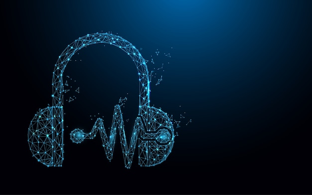Headphone and sound waves form lines Premium Vector