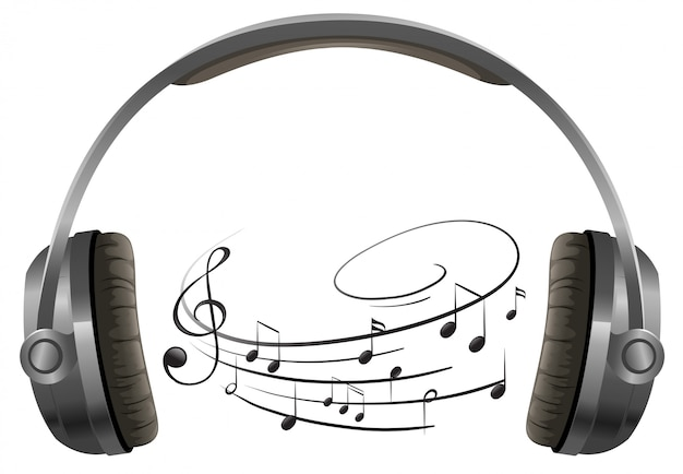 A headphone on white background Free Vector