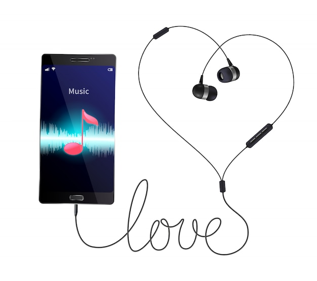 Headphones earphones realistic composition with wired in-ear phones connected to smartphone with music player application illustration Free Vector