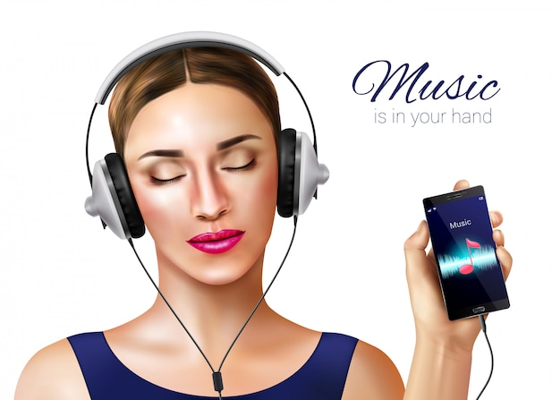 Headphones earphones realistic illustration composition with female human character and music player application on smartphone screen Free Vector