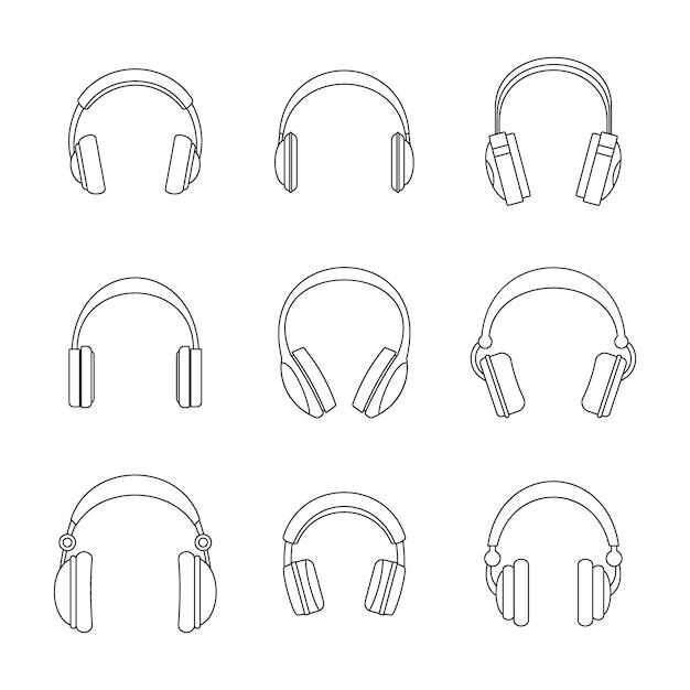 Headphones music speakers icons set Premium Vector