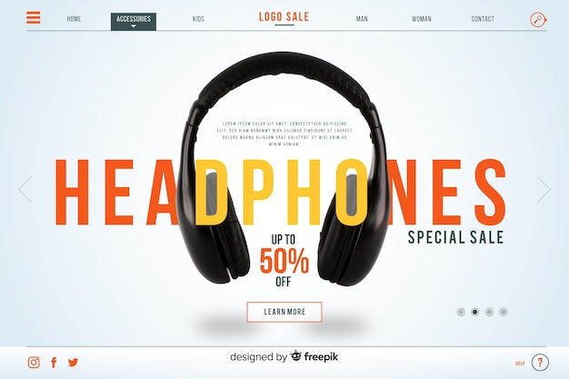 Headphones sale landing page with photo Free Vector