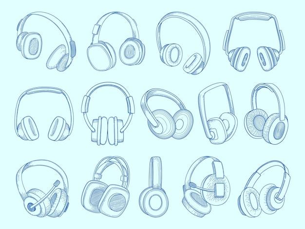 Наушники. набор эскизов музыкальных акустических наушников оборудования беспроводной связи. Premium векторы