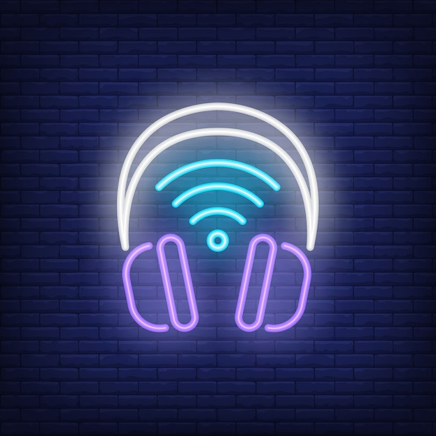 Headphones with wi-fi symbol neon sign Free Vector