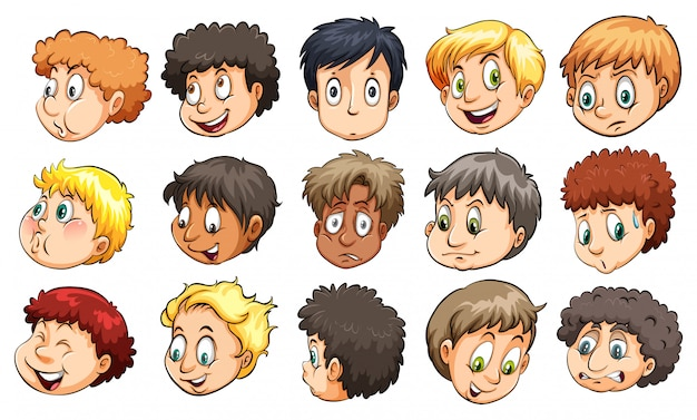 Heads of young boys Free Vector