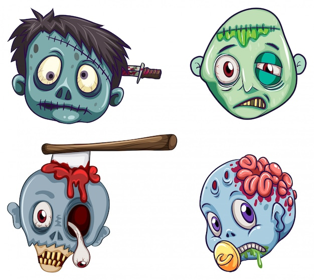 Heads of the zombies Free Vector