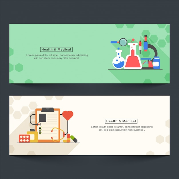 Health and Medical website headers or banners\ set with flat elements.